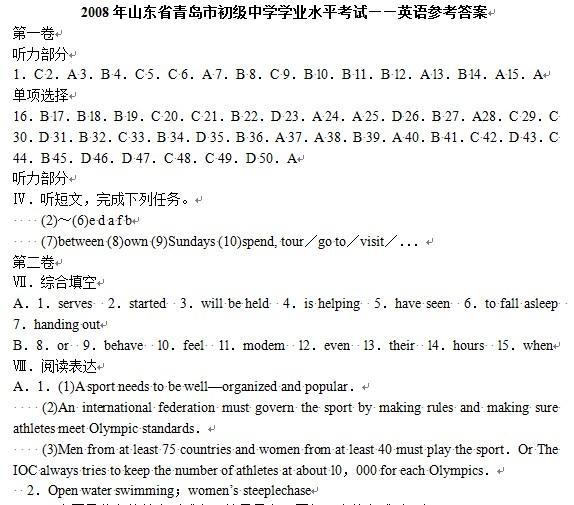 2008年青岛中考英语试题答案下载