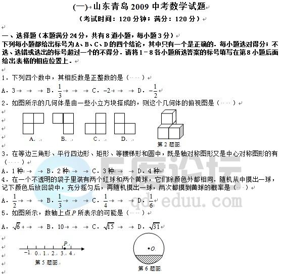2009年青岛中考数学试题下载