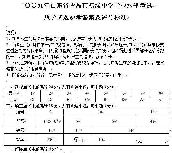2009年青岛中考数学试题答案下载