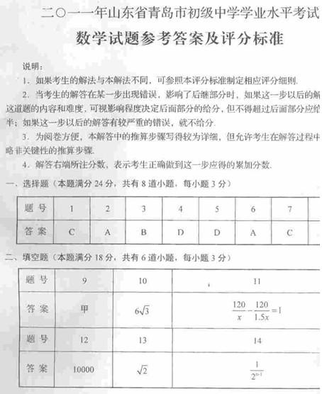 2011年青岛中考数学试题答案下载