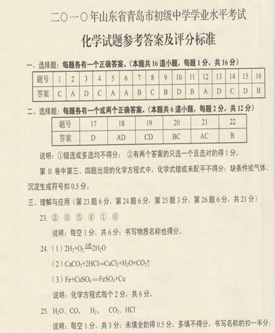 2010年青岛中考化学试题答案下载
