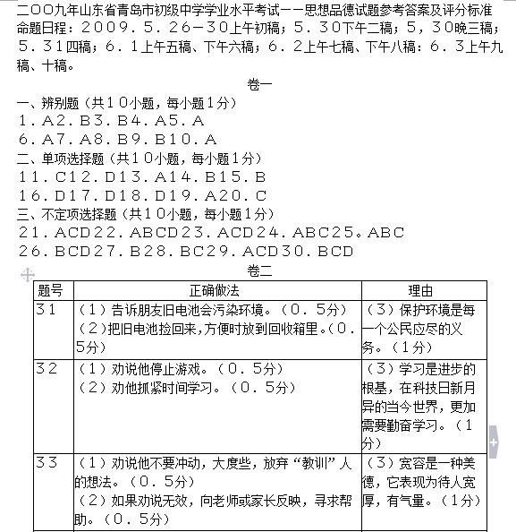 2009青岛中考思想品德试题答案下载