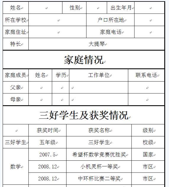 2013合肥小升初简历制作模板(一)