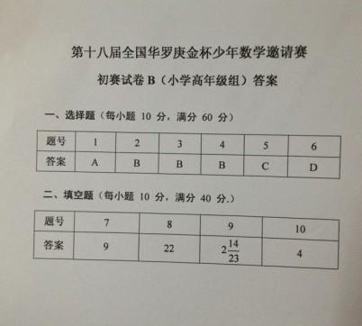 华杯赛小高组试卷答案 B卷