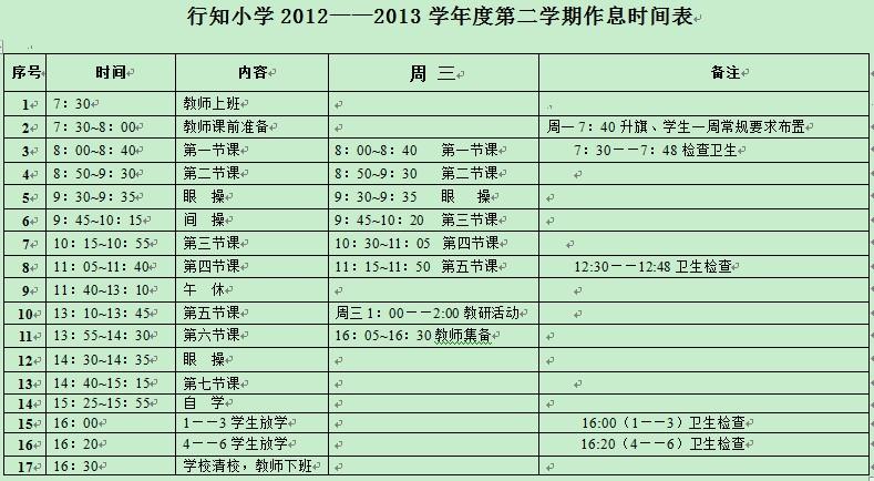 大连行知小学2013第二学期作息时间表
