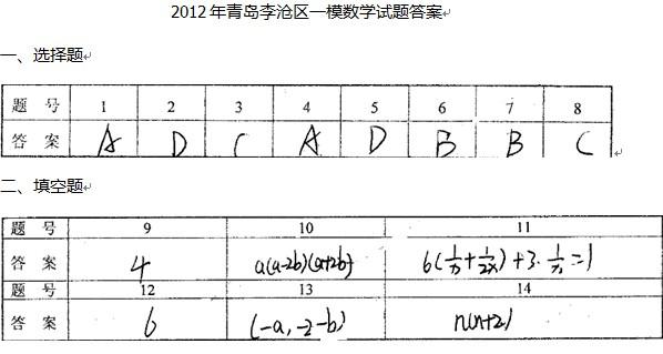 2012青岛李沧区中考一模数学试题答案