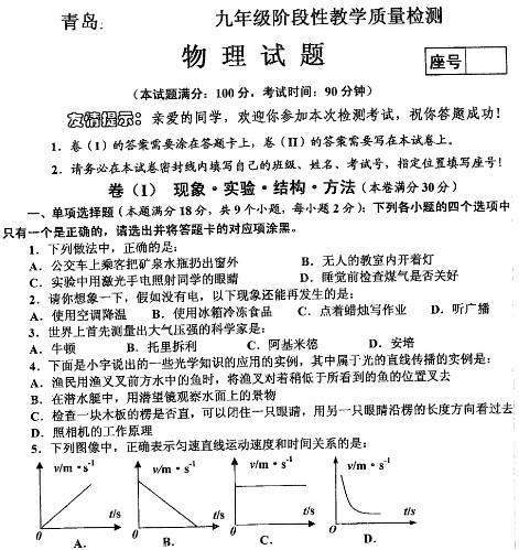 2012青岛市北区中考一模物理试题