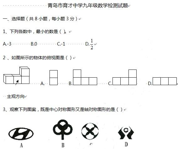 2012青岛实验初中中考一模数学试题