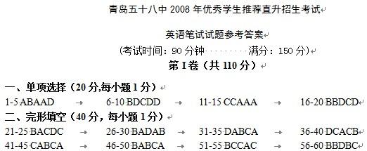 青岛五十八中2008年直升笔试英语试题答案