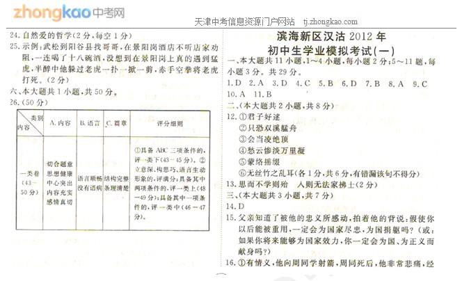 2012年天津滨海新区汉沽中考一模语文试题答案