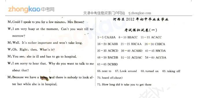 2012年天津河西区中考一模英语试题答案