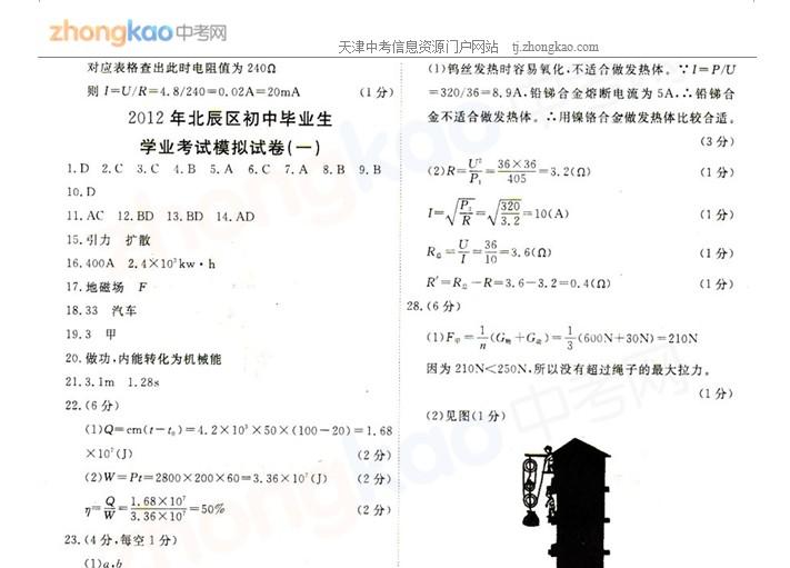 2012年天津北辰区中考一模物理试题答案