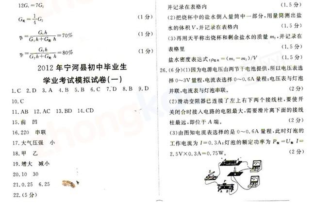 2012年天津宁河县中考一模物理试题答案