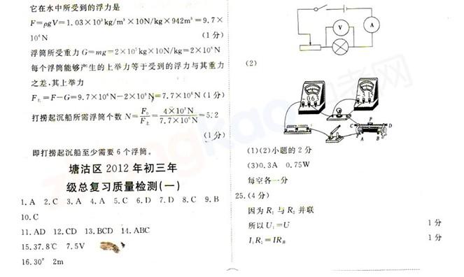 2012年天津塘沽区中考一模物理试题答案