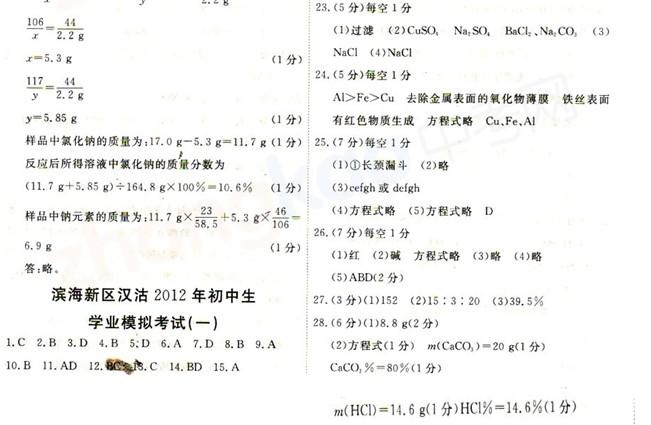 2012年天津滨海新区汉沽中考一模化学试题答案