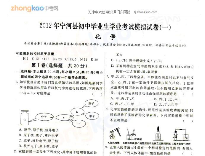 2012年天津宁河县中考一模化学试题