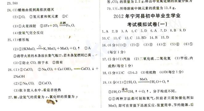 2012年天津宁河县中考一模化学试题答案