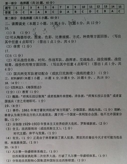 沈阳市2012-2013学年下初三月考(中考摸底考试)历史试题答案
