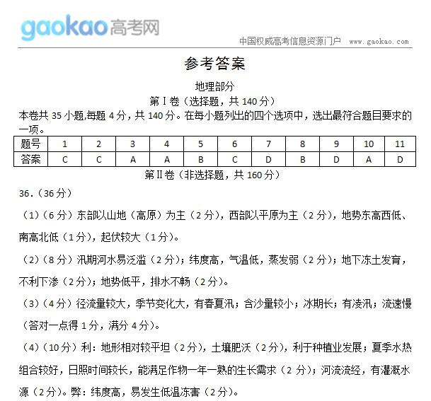 北京2013丰台区高考一模试题:文综答案