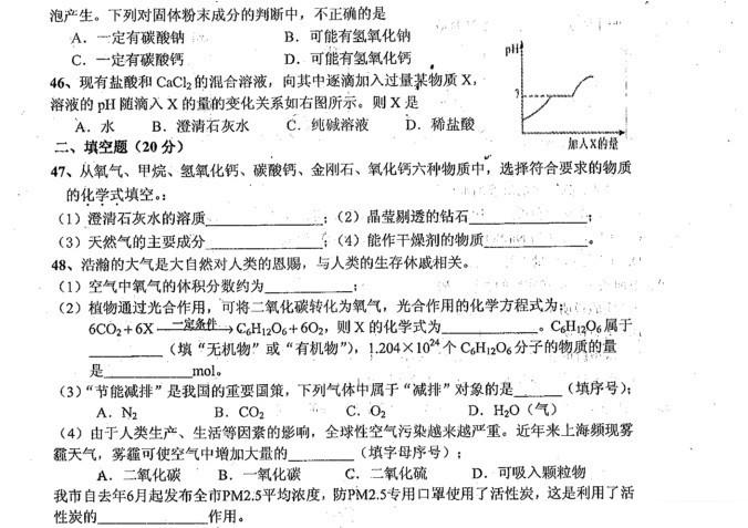 2013年奉贤区调研测试九年级化学试卷