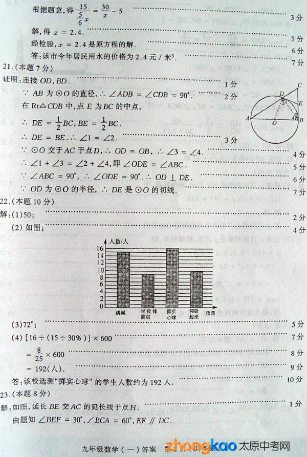 太原市2012年数学毕业班初中综合测试(一)委员(2)初中文艺答案图片