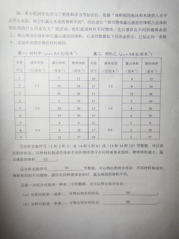 2013学年第二学期宝山期中考试九年级物理卷