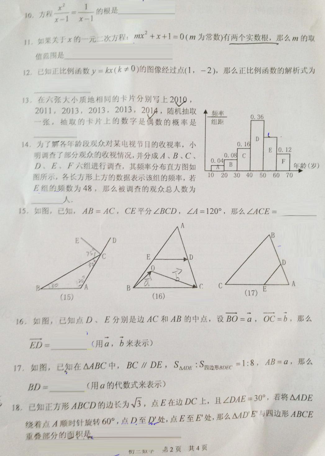 2013学年金山区第二学期初三模拟考试数学试卷