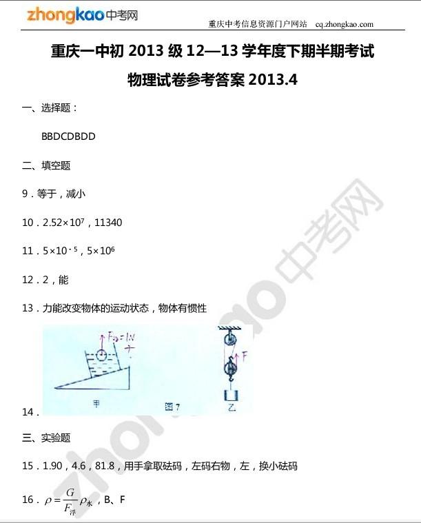 重庆一中初2013级(三下)半期考试物理试题参考答案