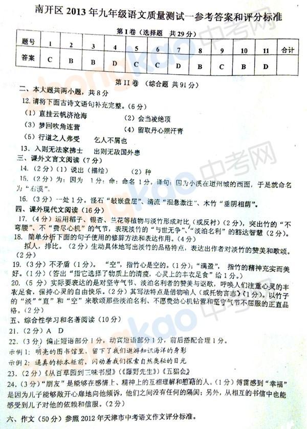 2013年天津南开区中考一模语文试题答案