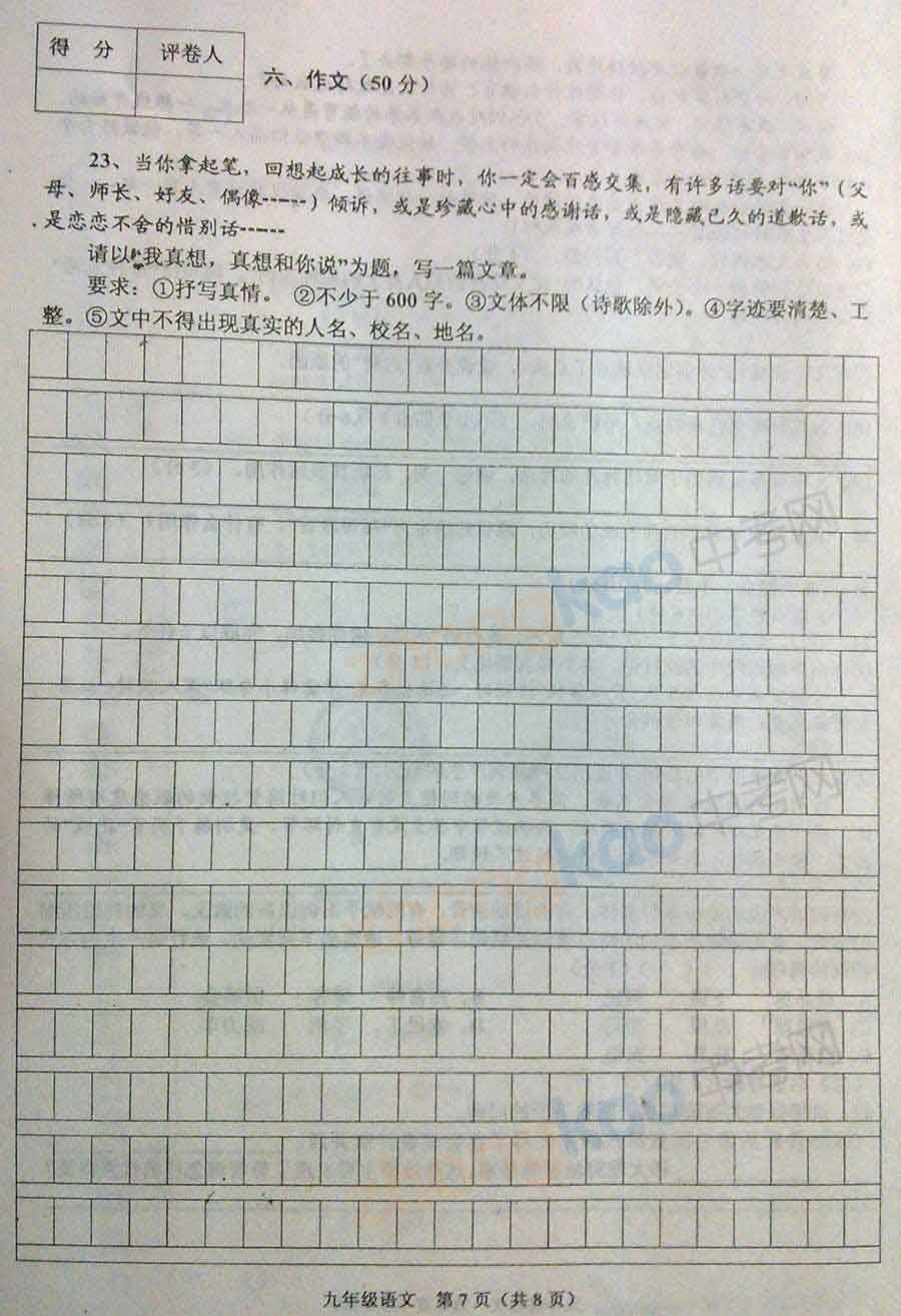 2013年天津红桥区中考一模语文试题