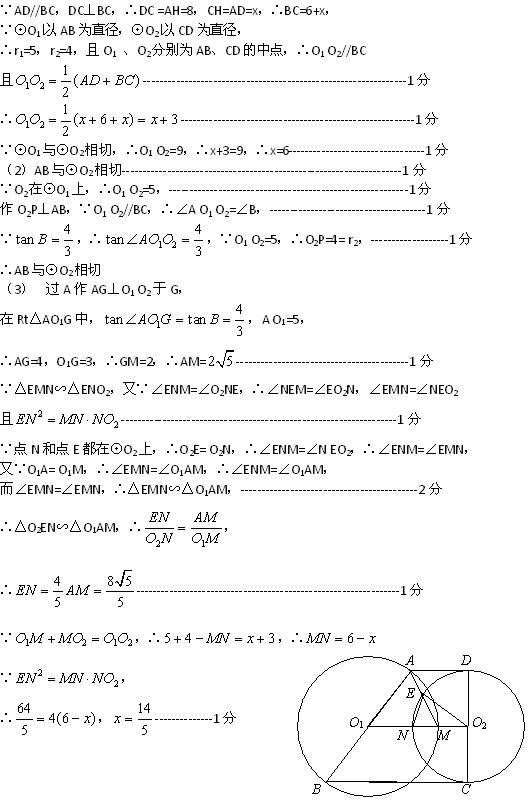 杨浦区初三数学模拟考答案及评分标准2013.5