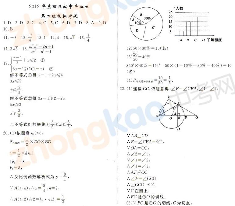 2012年天津东丽区中考二模数学试题答案