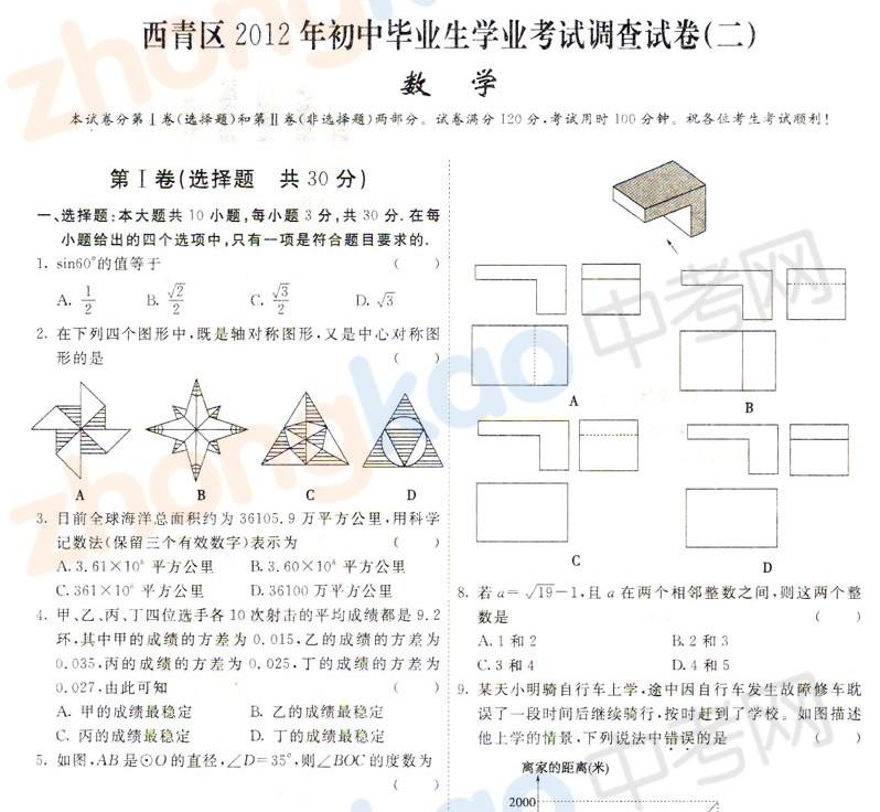2012年天津西青区中考二模数学试题