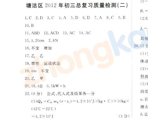 2012年天津塘沽区中考二模物理试题答案
