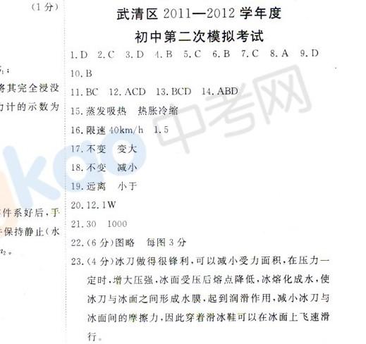 2012年天津武清区中考二模物理试题答案