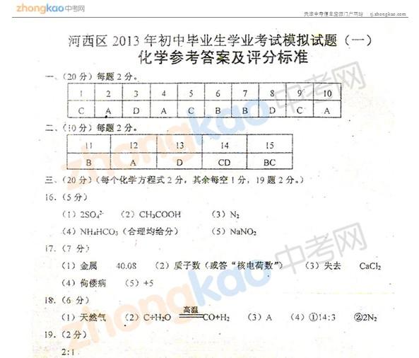 2013年天津河西区中考一模化学试题答案