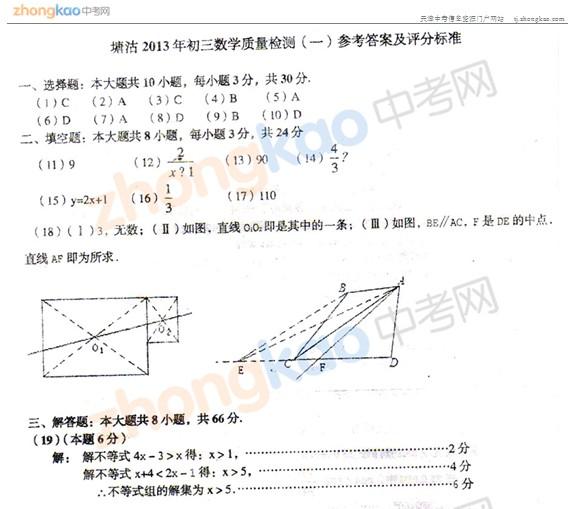 2013年天津塘沽区中考一模数学试题答案