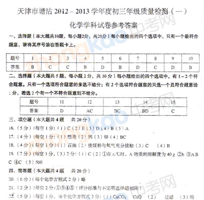 2013年天津塘沽区中考一模化学试题答案