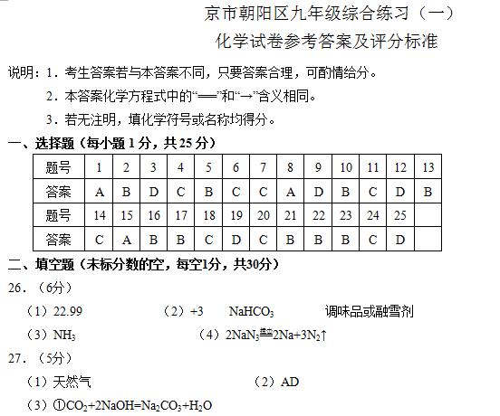 2013朝阳区中考一模化学试题答案