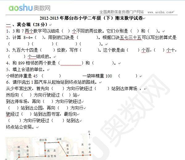2012-2013年邢台市小学二战争(下)期末年级试家的我们初中600作文字数学图片