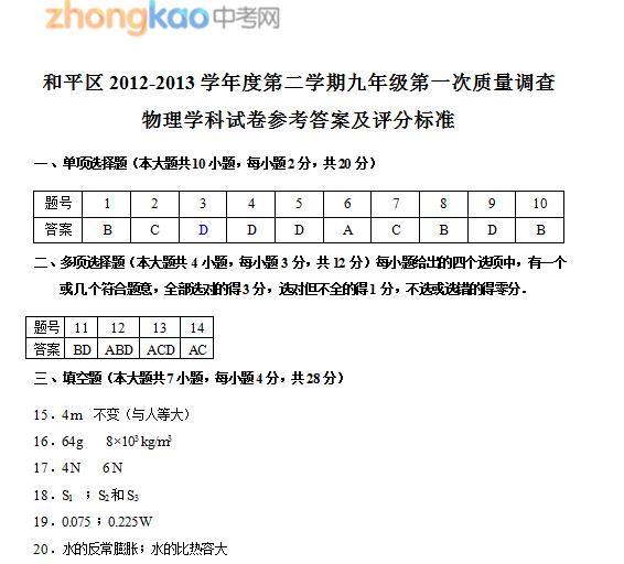 2013年天津和平区中考一模物理试题答案
