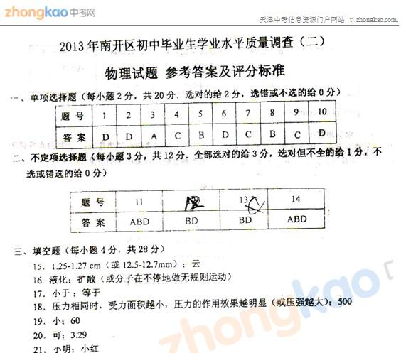 2013年天津南开区中考二模物理试题答案