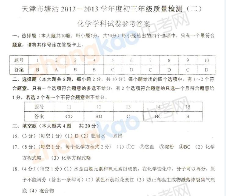 2013年天津塘沽区中考二模化学试题答案