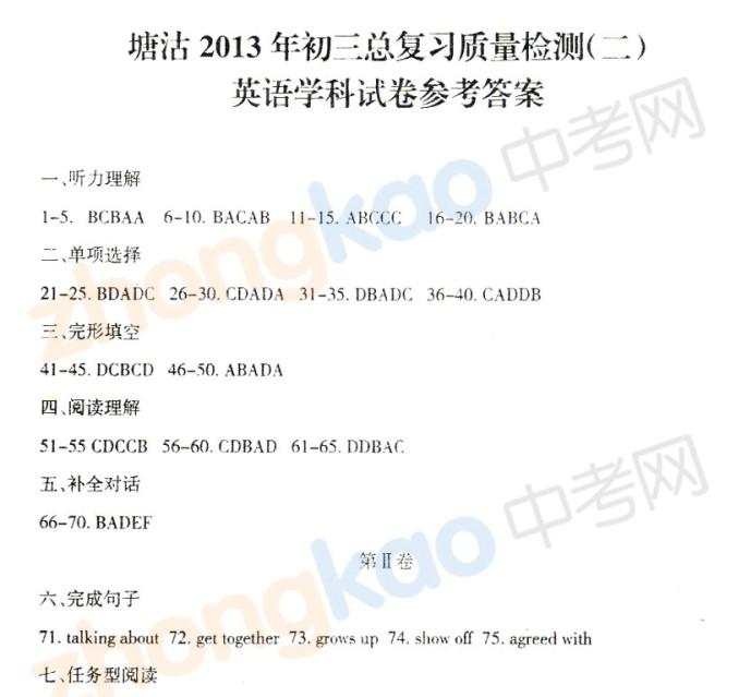 2013年天津塘沽区中考二模英语试题答案
