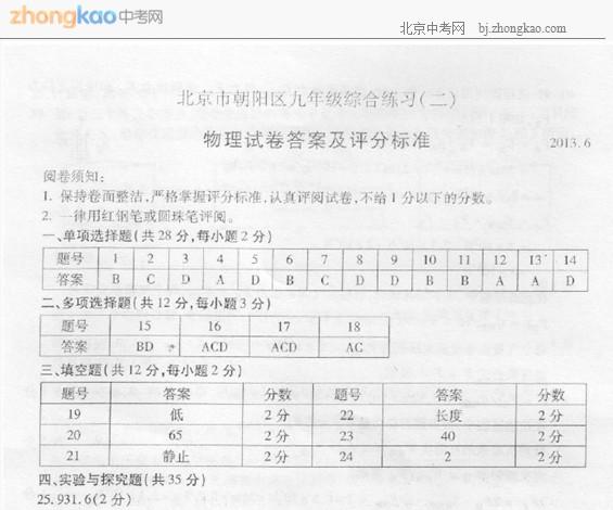 2013朝阳区中考二模物理试题答案