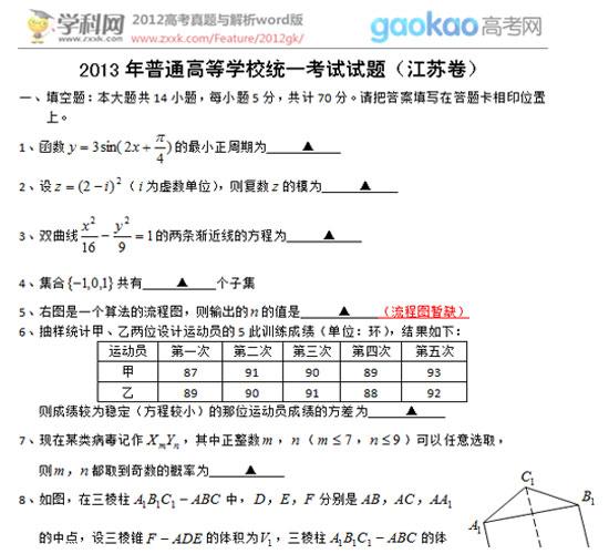 2013年江苏高考数学试题(真题)