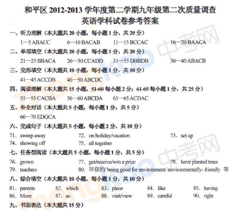 2013年天津和平区中考二模英语试题答案