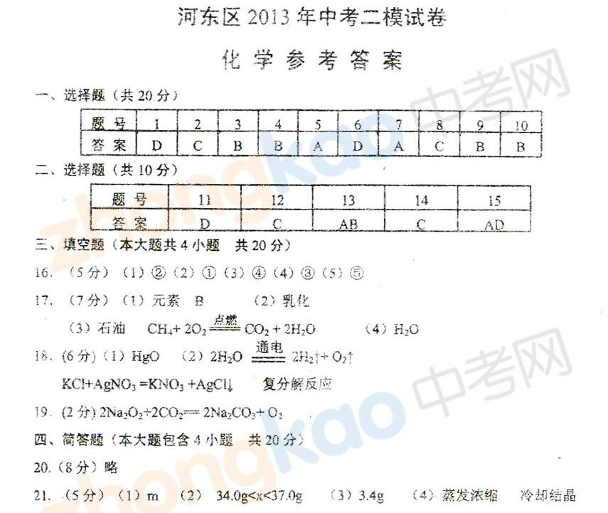 2013年天津河东区中考二模化学试题答案