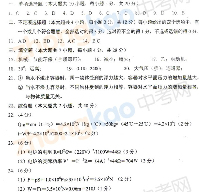 2013年天津河东区中考二模物理试题答案