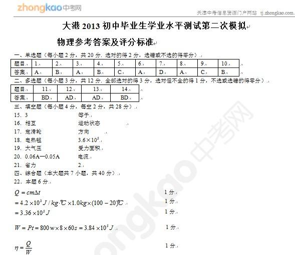 2013年天津大港区中考二模物理试题答案